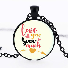 I Love You So Much Photo Glass Dome black Chain Pendant Necklace,Wholesale