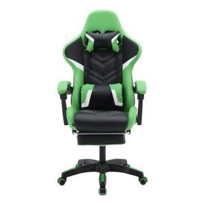 Gaming Chair Swivel HighBack Ergonomic Leather Racing Adjustable Office Green
