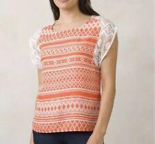Prana Aleen Top Medium M Orange Ivory Geometric Cap Sleeve T Tee Shirt