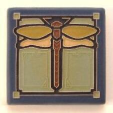 4x4 Arts & Crafts Dragonfly Tile in Sapphire by Arts & Craftsman Tileworks
