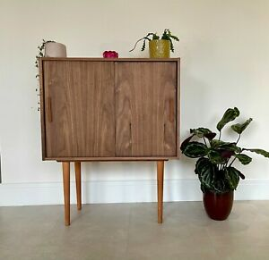 Mid Century Style Jupiter Walnut Handmade Drink Cabinet/Sideboard by Supramobili