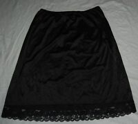 Vintage Lorraine Black Skirt Slip Daisy Floral Hem Trim 2X Nylon XXL Knee Length