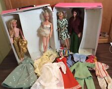 Vtg 1968 Barbie Doll Trunk W/ 4 Dolls, 8 Outfits- Old Brown-Headed Ken Doll
