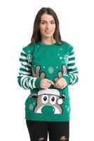 Unisex Men Women Knitted Reindeer Christmas Xmas Long sleeve Jumper Top Sweater