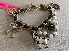 NWT 100% Betsey Johnson Lovely Cow Horseshoe Pearl Bracelet