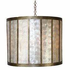 Brand New Antiqued Gold Iron and Creme Capiz Drum Chandelier