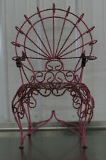 RARE ANTIQUE VINTAGE ORNATE TWISTED METAL PEACOCK BACK KIDS GARDEN CHAIR PROP