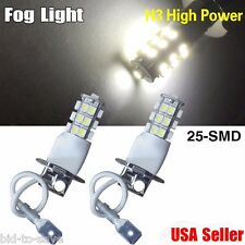 2PCS Xenon White H3 3528 25-SMD For Vehicle Car Fog Driving DRL LED Light BULBS