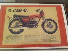 Vintage Yamaha Rd350 Rd Motorcycle Art Poster Man Cave Garage Art Advertising