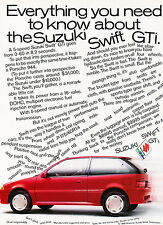 1989 Suzuki Swift GTI Original Advertisement Car Print Ad J365