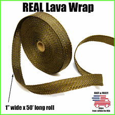 """THERMAL ZERO LAVA EXHAUST WRAP HEADER PIPE HEAT INSULATION TAPE ROLL 1"""" x 50 FT"""