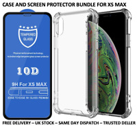 IPHONE XS MAX CLEAR SHOCKPROOF CASE & 10D TEMPERED GLASS SCREEN PROTECTOR BUNDLE