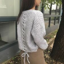 Korean Women's Fashion Ribbon Bow Pullover Knit Sweater Top Gray