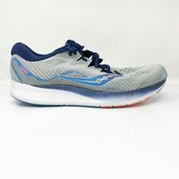 Saucony Mens Ride ISO 2 S20515-1 Grey Blue Running Shoes Lace Up Size 12 W