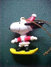 Peanuts Snoopy Santa on Yellow Skate Board Christmas Ornament