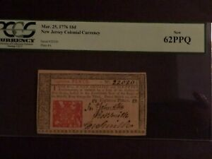 New Jersey Colonial Currency Mar. 25, 1776 18d New 62 PPQ