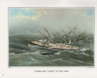"1972 Vintage Currier & Ives ""CLIPPER SHIP COMET NEW YORK"" Color Print Lithograph"