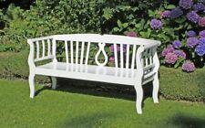 Gartenbank weiß 3 Sitzer Parkbank Sitzbank Terrasse Möbel Eukalyptus Holz Möbel