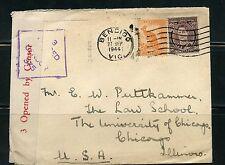 AUSTRALIA BENDIGO VIC 1944 CENSORED COVER TO UNIVERSITY OF CHICAGO LAW SCHOOL