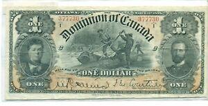 1898 Dominion of Canada $1 Note 377730 VF30