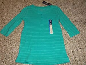 NEW GIRLS TURQUOISE STRIPED ¾ SLEEVE SHIRT SIZE YOUTH LARGE 10/12 BY CHEROKEE
