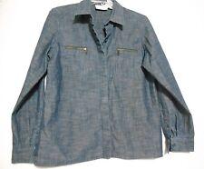 Liz Claiborne Petite Sm. Blue Denim Cotton Over Blouse Adjustable length Sleeves