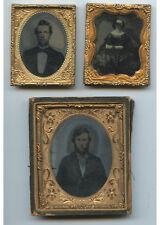 AMBROTYPES - SET OF 3 VINTAGE STUDIO PORTRAITS