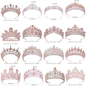 41 Styles Rose Gold Crystal Queen Princess Tiara Crown Wedding Party Pageant