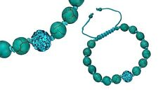 Turquoise Shamballa Bracelet with Pavé Bead Accent