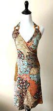 Modern Print Bodycon Summer Halter Stretch Short Dress S