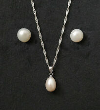 GENUINE FRESHWATER 8 mm PEARL STUD EARRINGS & NECKLACE PENDANT 925 SOLID SILVER