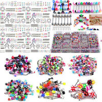 Punk Body Piercing Jewelry 105pcs Cute Eyebrow Navel Belly Tongue Nose Bar Ring