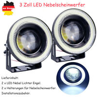 "2PCS 3"" Auto LED Nebelscheinwerfer Set Angel Eyes Fog Light Weiß Universal DE"