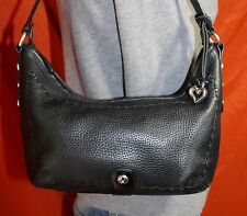 BRIGHTON Small Black Leather Shoulder Hobo Tote Satchel Slouch Purse Bag
