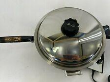 Vintage West Bend Electric Skillet Frying Pan Stainless Steel Webalco 7230 Works