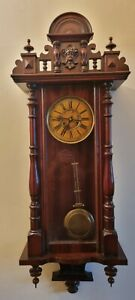 ANTIQUE WOODEN AND GLASS PENDULUM WALL CLOCK