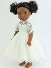 "White Lace Dress Fits Wellie Wishers 14.5"" American Girl Clothes"