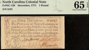 GEM 1771 COLONIAL CURRENCY LITTLE BEAR URSA MINOR NORTH CAROLINA NOTE PMG 65 EPQ