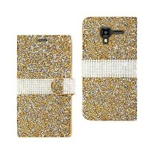 Kyocera Hydro View Wallet Case Cover Magnetic Flip Jeweled Rhinestone Gold