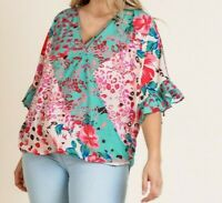 New Umgee Top 1X Green Floral Animal Ruffle Sleeve Boho Peasant Plus Size