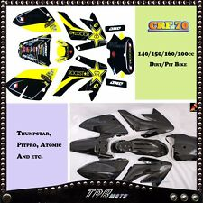 CRF70 BLACK PLASTICS & STICKER KIT DIR/PIT BIKE 140/150/160/200 CC ATOMIK PITPTO