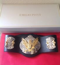 EMILIO PUCCI $1350 BLK. LEATHER SILVER/GOLD EAGLE RUNWAY BELT SOLD OUT NWTAG LTD