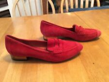 REBECCA MINKOFF Red Genuine Suede Penny Loafers SHOES Almond toe 8.5 bronze heel