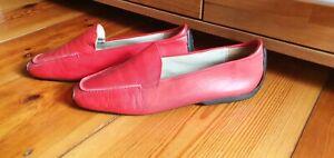 MANIA Schlüpfschuhe Damen Loafer Mokassin Leder Slipper Halbschuhe Rot Gr. 42