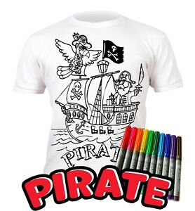 Splat Planet Colour-in Pirate T-Shirt 10 Magic Pens-Colour-in and Wash Out