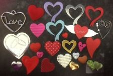 JOB LOT MIX ASSORTED PACK 25 HEART VALENTINES CARD MAKING CRAFT EMBELLISHMENTS