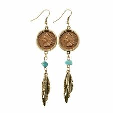 NEW 100 Year Old Indian Head Penny Feather Goldtone Coin Earrings 12424