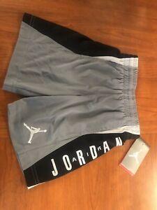 Jordan Basketball Shorts Boys Sizes Grey-Black 853149-K26 *NEW* MSRP $28