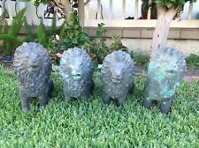 "Vintage Set Of 4 Bronze Outdoor Lion Figure Salvaged 13"" Tall"