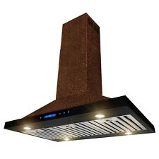 "36"" Island Mount Range Hood Embossed Copper 4 Speed Touch Control for Kitchen"